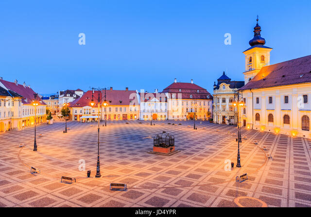 Sibiu, Romania. Large Square (Piata Mare) with the City Hall and Brukenthal palace in Transylvania. - Stock Image