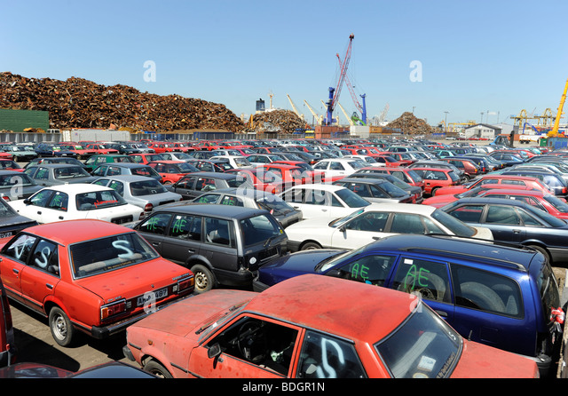 old cars await export to africa cotonou benin at pier in hamburg port