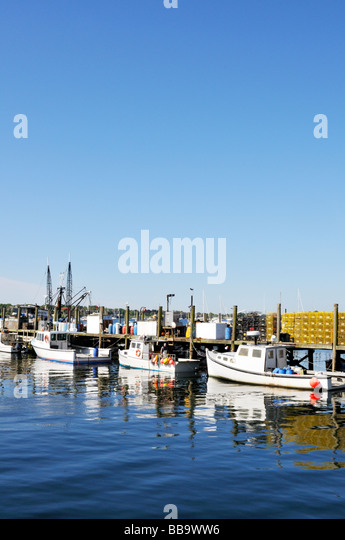 Lobster boats tied up wharf stock photos lobster boats for Newport harbor fishing
