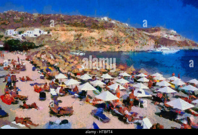 Best Island Beaches For Partying Mykonos St Barts: Super Paradise Beach Mykonos Stock Photos & Super Paradise
