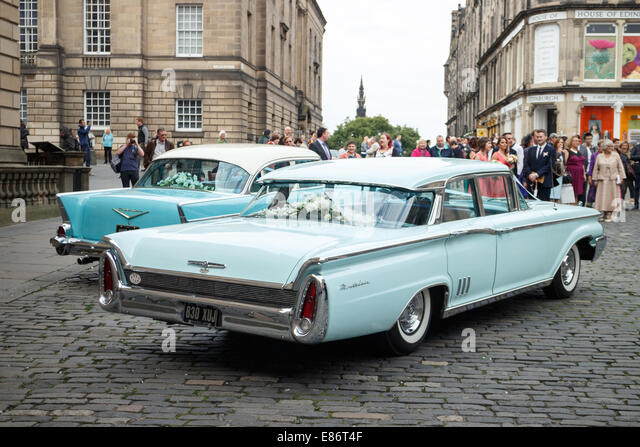 1960s Mercury Wedding Car Next To 1950s Chevrolet Edinburgh Old Town