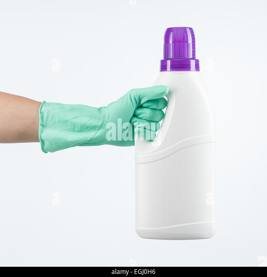 Human Hand Wearing Protective Glove Holding Laundry Detergent Container On White Background