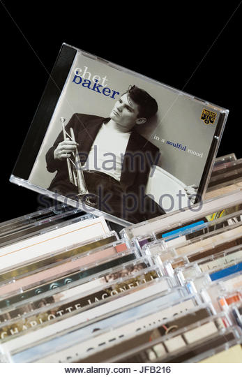In a Soulful Mood, Chet Baker CD pulled out from among rows of other CD's, Dorset, England - Stock Image