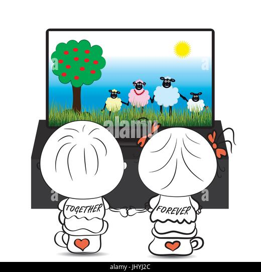 girl watching tv clipart. couple boy and girl watching cartoon about cute sheep on tv, vector - stock image tv clipart