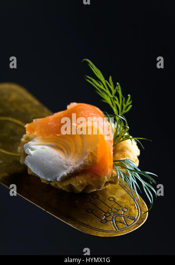 Wrap cream stock photos wrap cream stock images alamy for Smoked trout canape