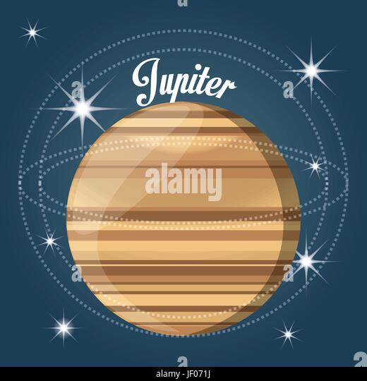 jupiter planet in the solar system creation - Stock Image