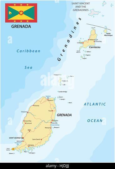 Map Of Grenada Stock Photos Map Of Grenada Stock Images Alamy - Grenada atlas map