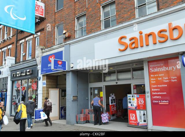 sainsburys store london uk stock photos sainsburys store. Black Bedroom Furniture Sets. Home Design Ideas