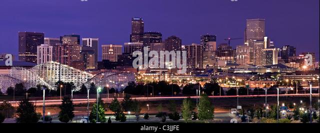 Denver Skyline Night Stock Photos & Denver Skyline Night Stock ...