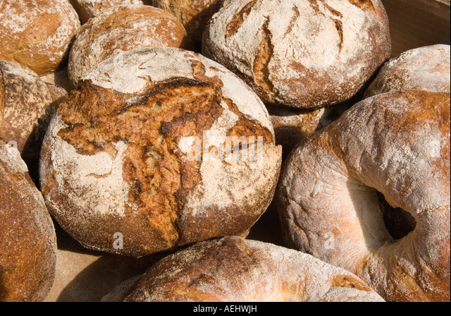Bread Loafs In A Farmers Market Queens Park North London Uk Stock Image
