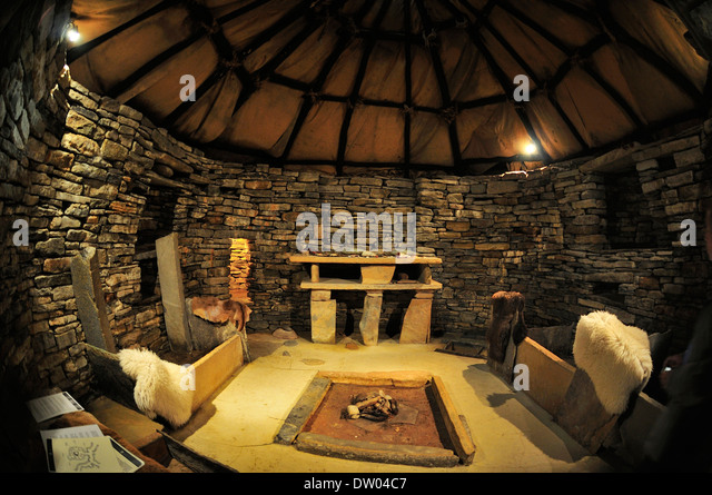Replica Of A House At The Excavation Site Neolithic Settlement Skara Brae