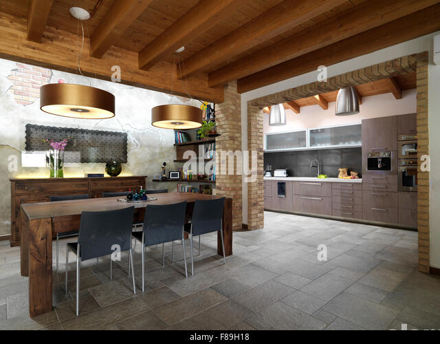 Foreground Of Dining Room In The Living Overlooking On Kitchen With Tile Floor And