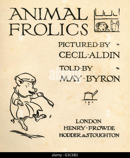 Title Page Design Stock Photos & Title Page Design Stock Images ... Title page design, Animal Frolics, illustrated by Cecil Aldin, told by May Byron