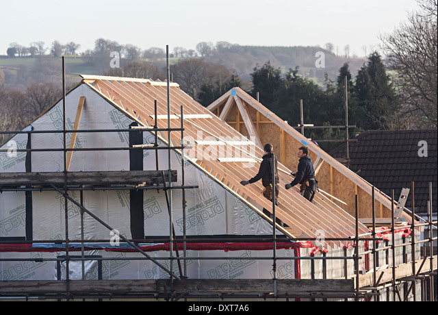 Roofing A New Build House In Village Of Llanfoist, Abergavenny, Wales, UK