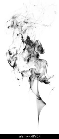 Black Fantasy Smoke On White Background Close Up   Stock Image