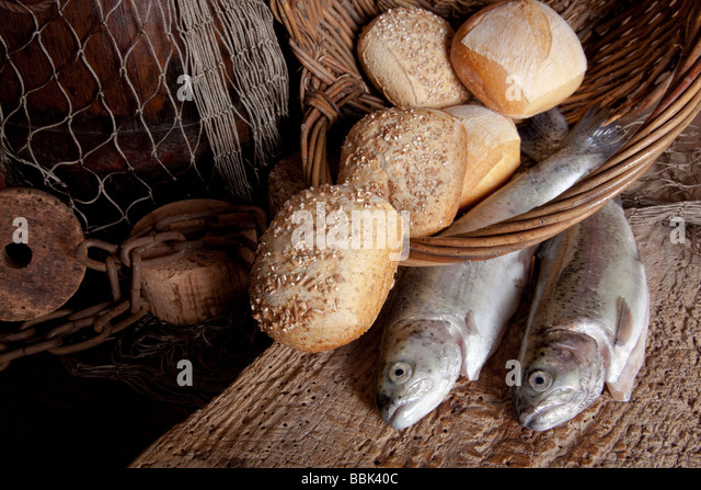 Multiplication bread fish stock photos multiplication for How to bread fish