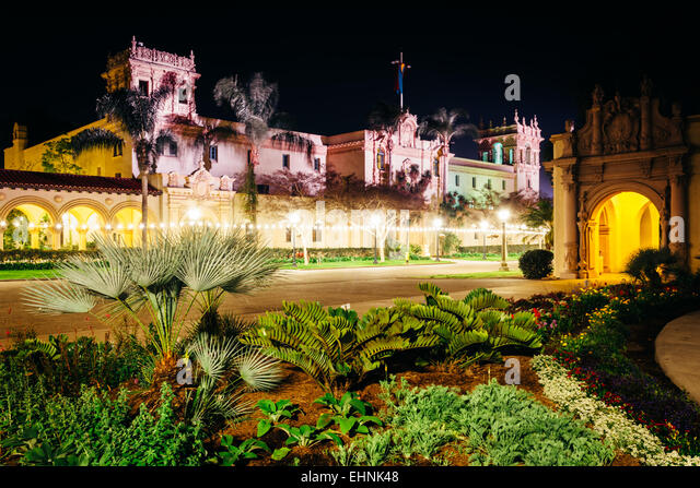 Garden And The Prado Restaurant At Night In Balboa Park San Diego California