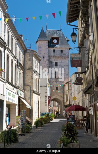 clock tower saint jean d 39 angely france stock photos. Black Bedroom Furniture Sets. Home Design Ideas