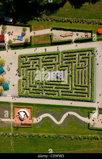 aerial view labyrinth hedge maze landesgartenschau country garden exhibition hemer maerkischer kreis