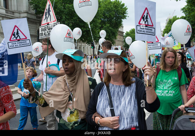 London, UK, 16th July 2017. Carnival Against the Cuts organised by Fair Funding for all Schools. Protesters against - Stock Image