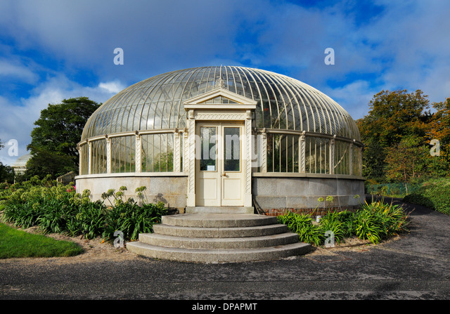 The Side Entrance To The Long Glasshouse Of The National Botanic Gardens In  Dublin, Ireland