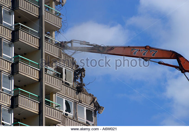 High Rise Demolition : Demolition of high rise building stock photos