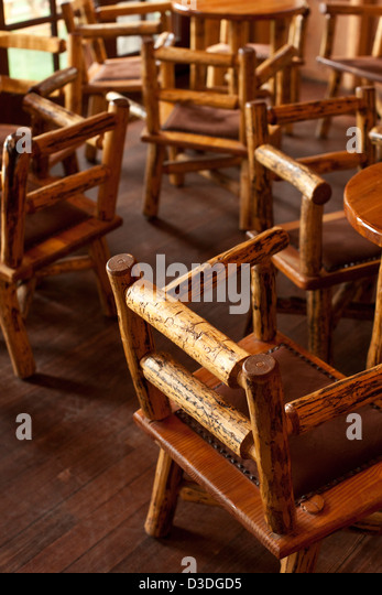 Elegant Wooden Rustic Hand Made Chairs In Bar Area Of Mountain Sky Ranch, Montana,  USA Design Inspirations