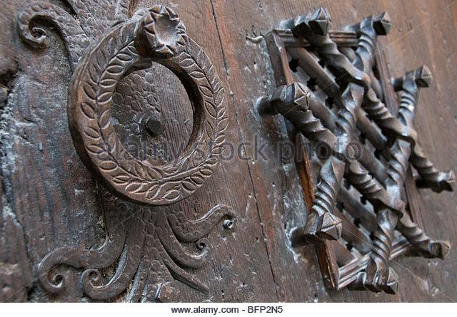 Wrought Iron Door Knockers In The Medieval Village Of Albarracin In Aragon,  Spain.