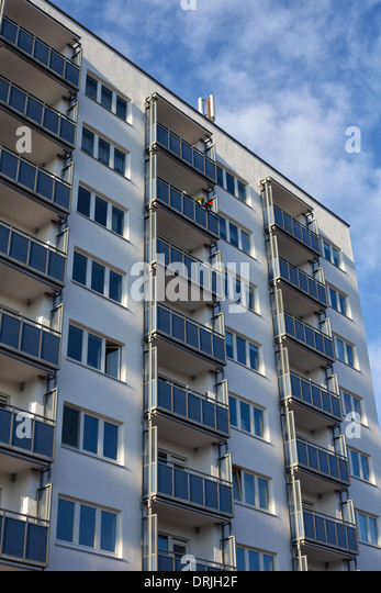Facade Of A Modern Apartment Building In Kiel, Germany   Stock Image