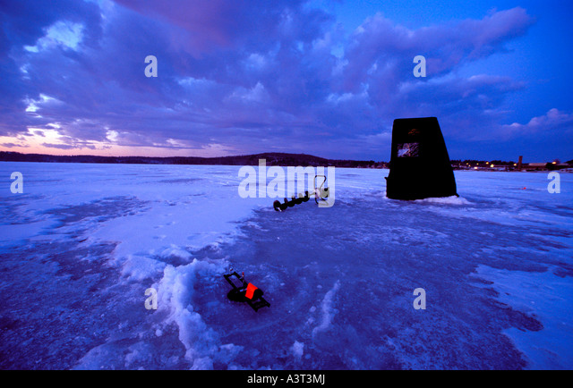 Ice fishing with tip up stock photos ice fishing with for Teal fishing pole