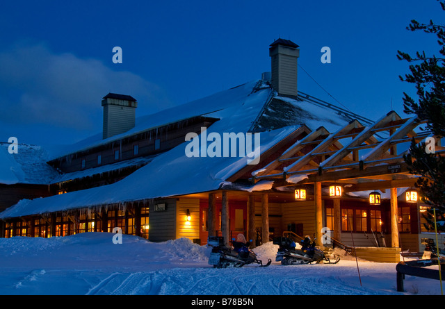 Xanterra Old Faithful Snow Lodge At Dusk, Winter, Yellowstone National  Park, Wyoming.