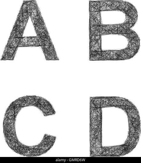 Line Art Letters : Sketched letter cut out stock images pictures alamy
