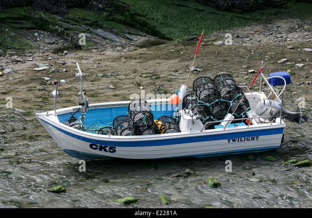 Crab lobster pot fishing stock photos crab lobster pot for Inshore fishing boats
