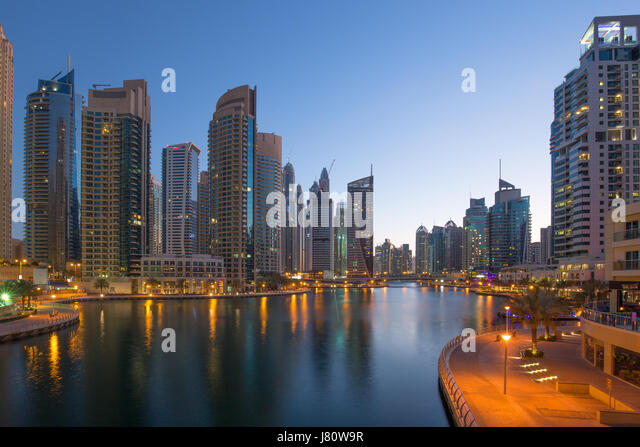 Dubai Marina skyscraper skyscrapers twilight night blue hour city UAE - Stock Image