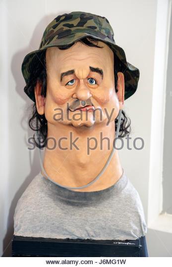 Miami Beach Florida Billy Murray sculpture artist David O'Keefe Bill Murray bust caricature - Stock Image