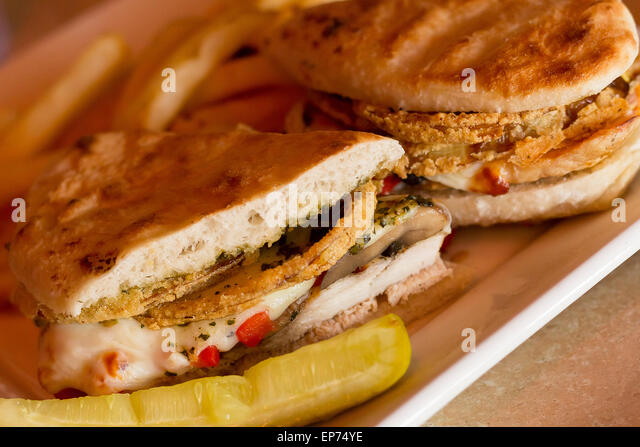 Grilled Chicken And Portobello Mushroom Panini With Crispy Onion Rings And A Side Of Golden Fries