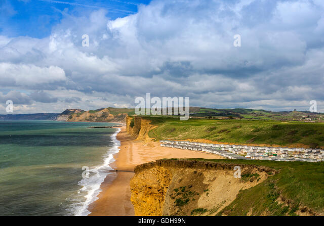 A Huge Mobile Home Park Encroaches Onto The Beach At Burton Bradstock On Jurassic Coast