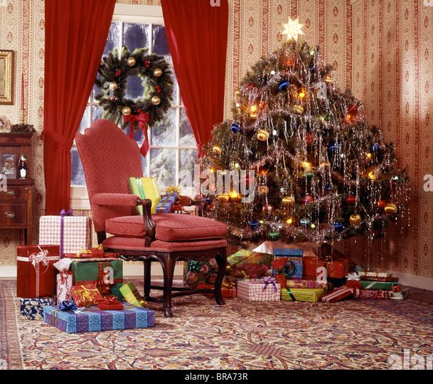 christmas tree in living room stock image - Retro Christmas Tree