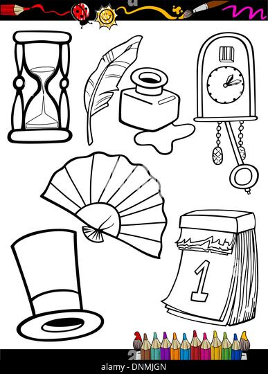 Coloring Book Or Page Cartoon Illustration Of Black And White Retro Objects Set For Children Education