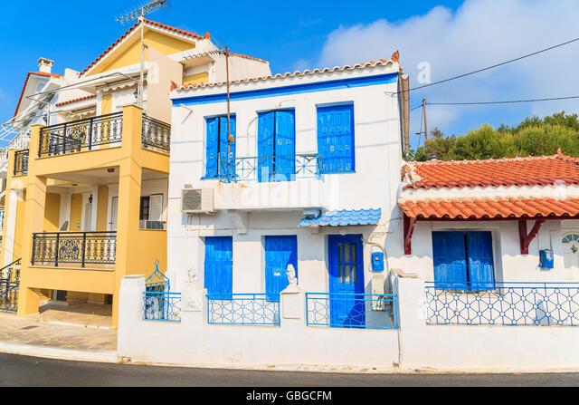 Greek Style House city town greece greek style stock photos & city town greece greek