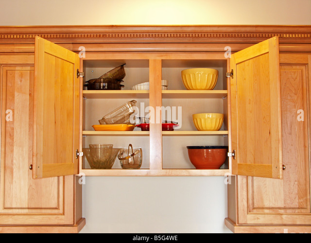 Open Kitchen Cabinet Stock Image