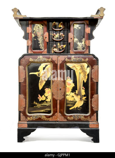 Antique Japanese Black Lacquer and Gold Table Cabinet    Stock Image. Japan Japanese Furniture Antique Stock Photos   Japan Japanese