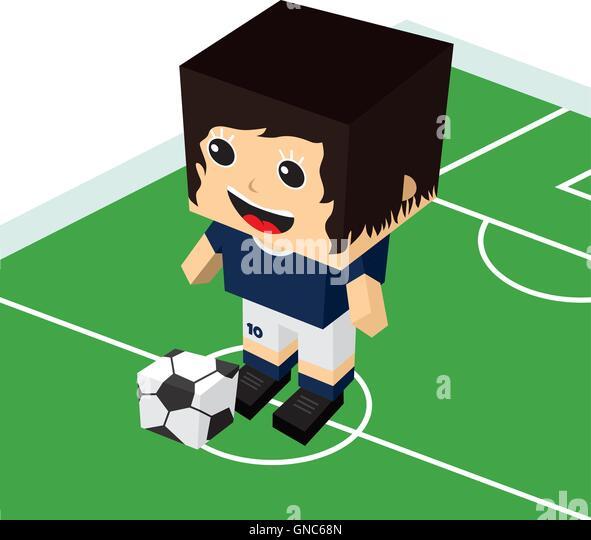 Cartoon girl soccer player