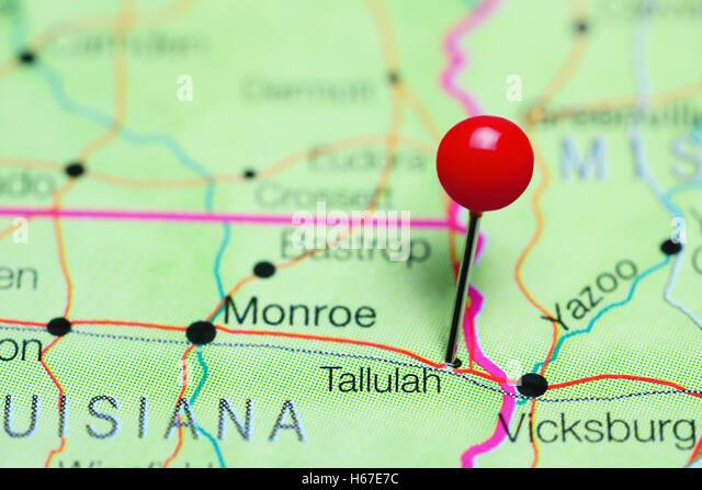 Tallulah Pinned On A Map Of Louisiana Usa Stock Image
