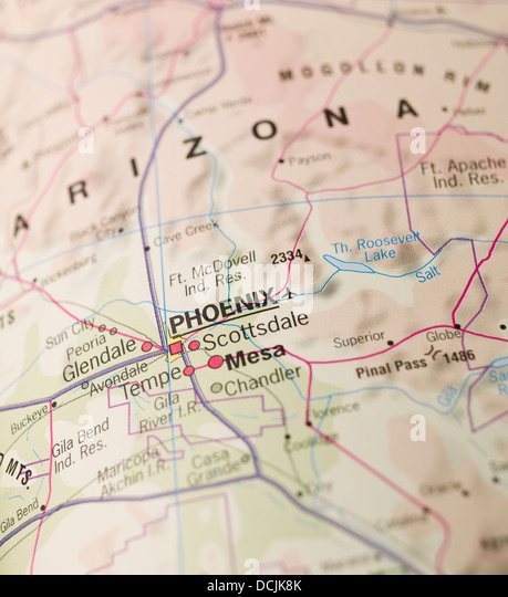 phoenix pinned on a map of usa ex7cjh rf map stock image