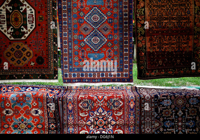 Lovely Persian Style Rugs On Sale In Yerevan, Armenia, At A Flee Market.