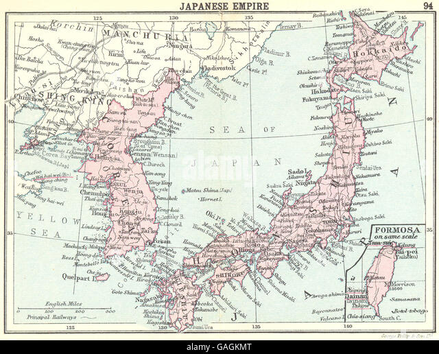 Japanese world map stock photos japanese world map stock images japan japanese empire inset map of formosa taiwan small map 1912 gumiabroncs Image collections