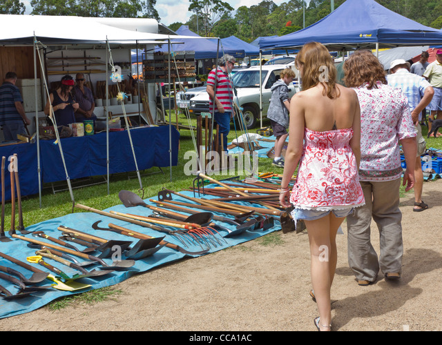 Couple Looking At Gardening Tools For Sale At Country Produce Market At  Yandina, Sunshine Coast