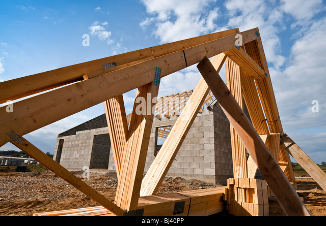 Roof trusses stock photos roof trusses stock images alamy for Prefabricated wood trusses