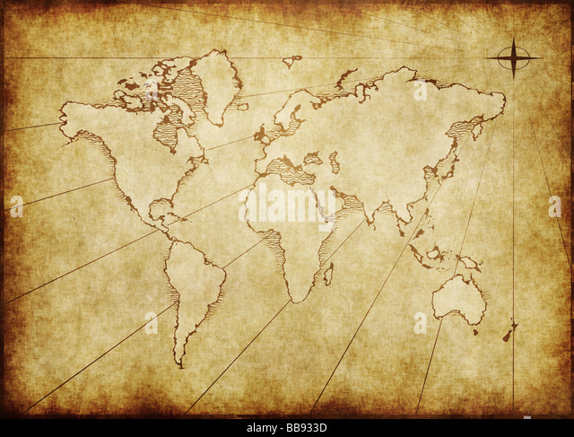 Old world map stock photos old world map stock images alamy an old world map drawn onto parchment paper stock image gumiabroncs Choice Image